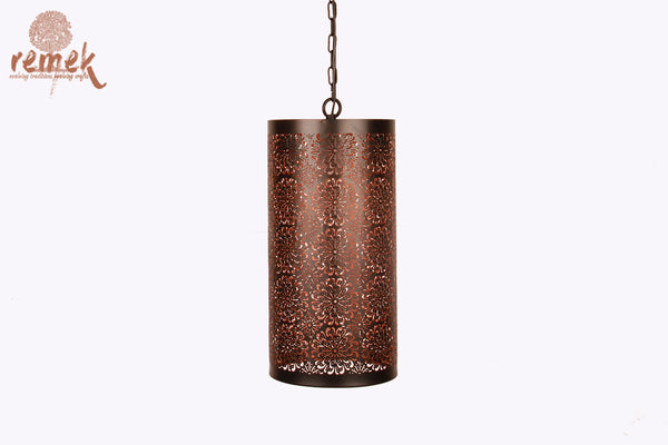 Moroccan Black Flower Design Hanging Cylindrical Lantern