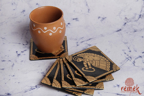 Golden Hand-painted Coasters depicting Tikuli Art from Bihar