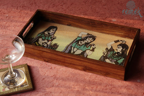 "Hand-painted ""Gemstone dust Art"" Tray from Rajasthan"