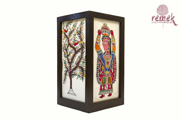 "Hand-painted ""Madhubani Art "" Table Lamp - Tree of life"