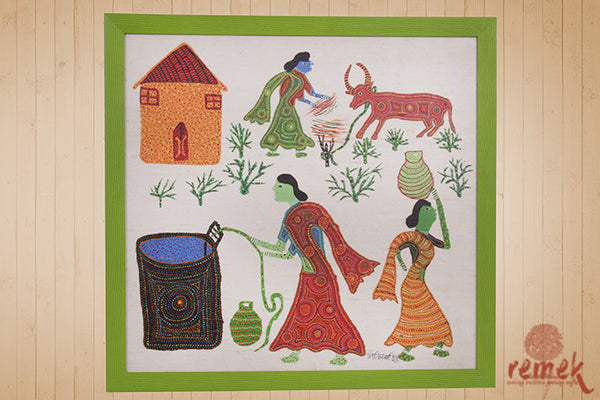 Bhil Painting - Village Life