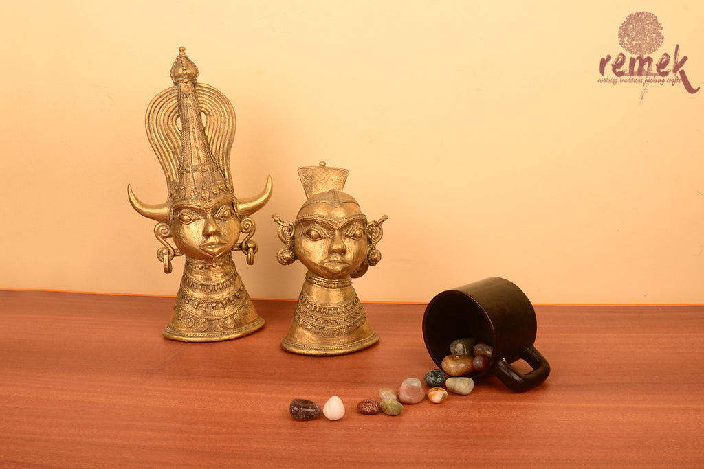 Unpolished Rustic Dhokra Tribal Pair
