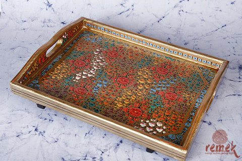 "Hand-painted ""Naquashi Art"" Tray from Kashmir"