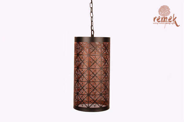 Moroccan Black Concentric Circle Design Hanging Cylindrical Lantern