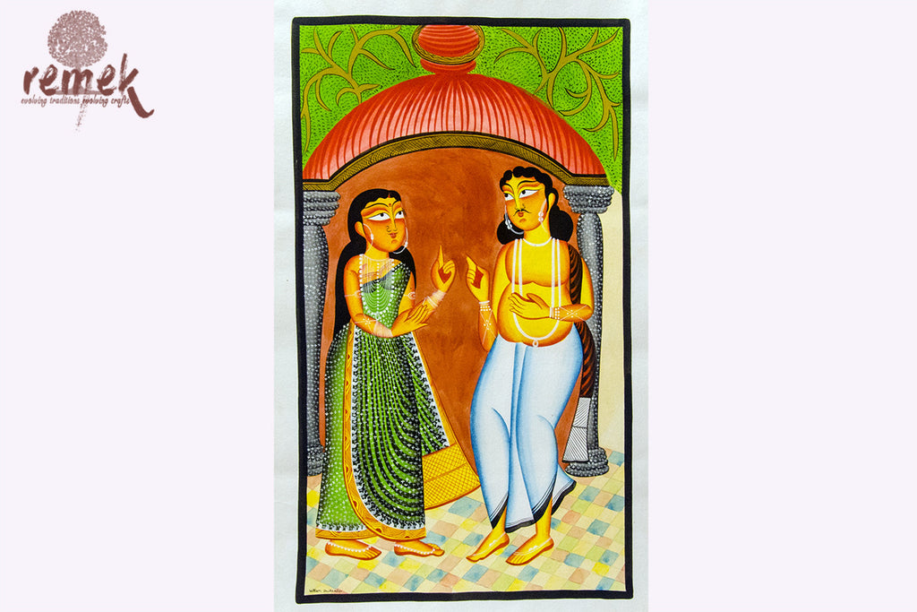 Kalighat Painting - Traditional Bengali Couple
