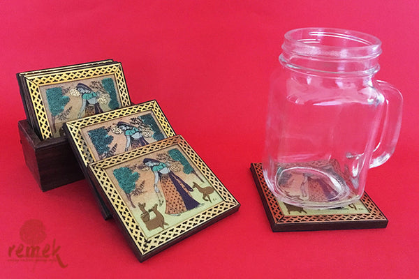 "Handpainted ""GemStone Dust Art"" Coasters from Rajasthan"