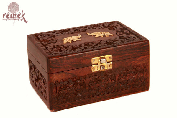 Handcarved Sheesham Jewellary box with carving and inlay