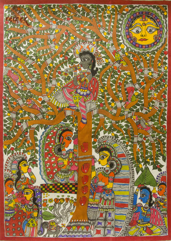 Madhubani Painting - Sermon under the Tree