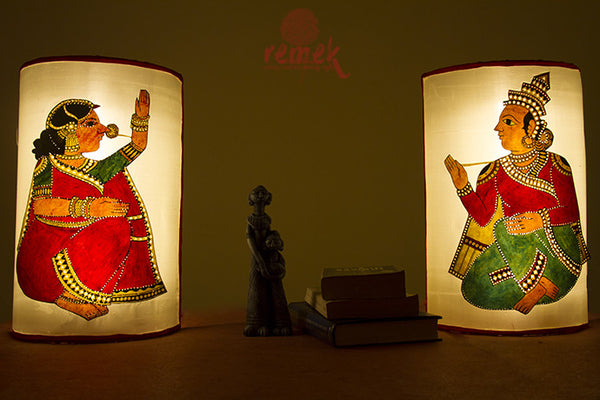 "Hand-painted ""Chitrakathi Art"" Lamp - Pair of Courtier"