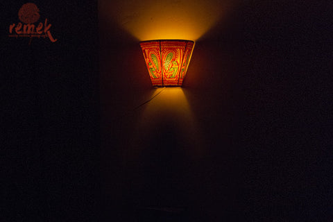 "Hand-painted ""Tholu Bommalata Art"" Wall Lamp - Peacock"