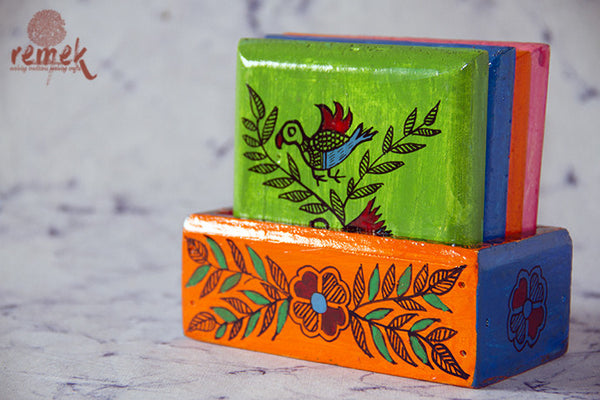 "Hand-painted ""Madhubani Art"" Coasters from Bihar"