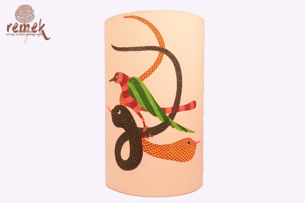 "Hand-painted ""Gond Art"" Lamp - Nature"