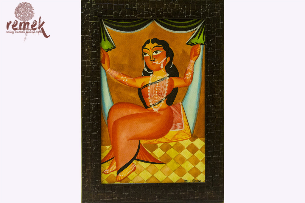 Kalighat Painting - Princess on a Swing