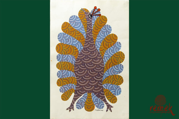 Gond Painting - Majestic Peacock