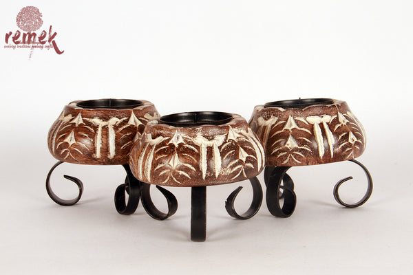 Hand Carved Lotus Shaped Polished Candle Stand - Set of 3