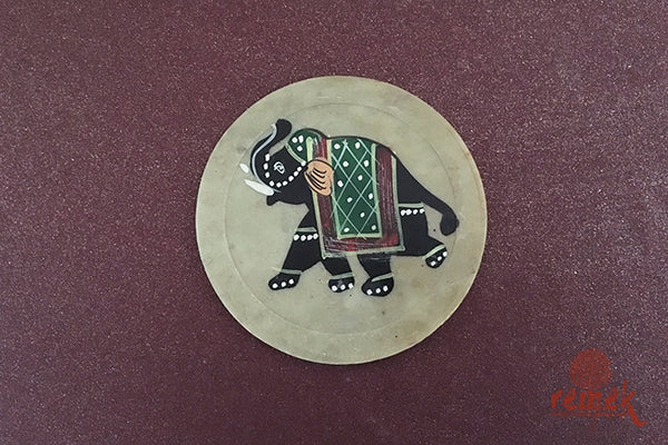 Hand-painted Coasters depicting Marble Art from Uttar Pradesh