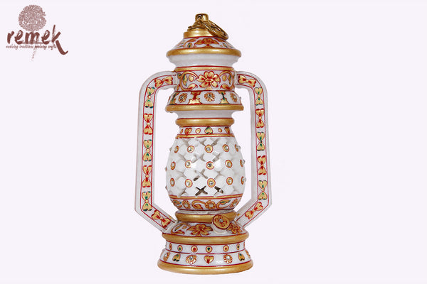 "Hand Carved Golden ""Marble Craft"" Table Lamp"