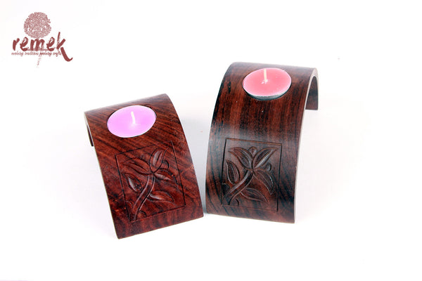 Hand Carved Mughal Motif inspired Tea light holder - Set of 2