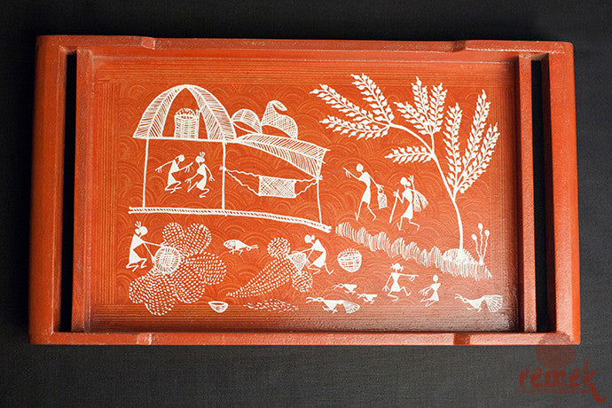 "Hand-painted ""Warli Art"" Tray from Maharshtra"
