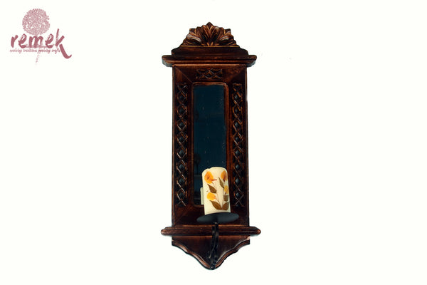 Hand carved Mughal Jaali inspired mirror-cum-candle stand
