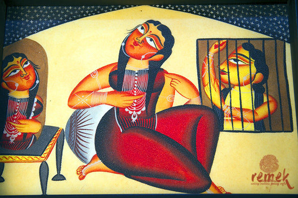 "Hand-painted ""Kalighat Art"" Tray from West Bengal"