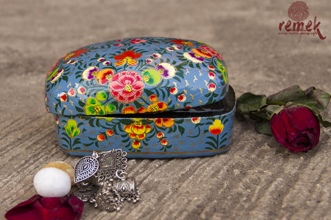 Small Hand-Painted Naquashi Box - Serene Blue