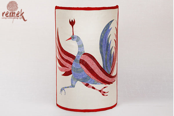"Hand-painted ""Gond Art"" Lamp - Peacock"