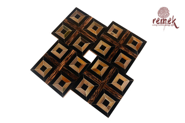 Handcrafted Bull Horn Coasters - Square Pattern