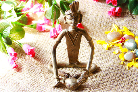Unpolished Rustic Dhokra Figurine - Pet Peacock