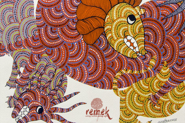 Gond Painting - Entangled Animals