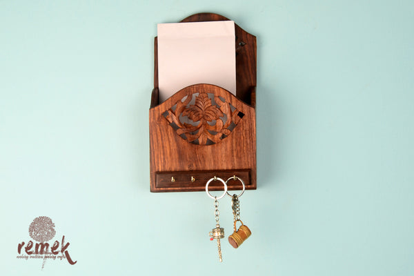 Handcrafted Wooden Key Hanger cum Letter Holder