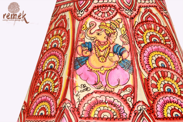"Hand-painted ""Tholu Bommalata Art"" Table Lamp - Lord Ganesha & Flowers"