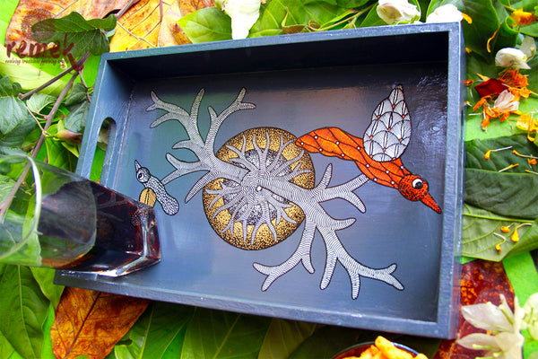 "Hand-painted ""Gond Art"" Tray- View of jungle"