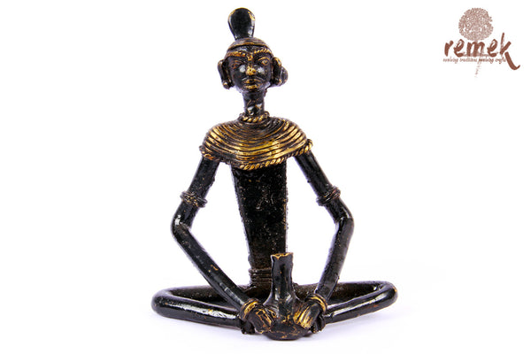 "Antique Dhokra Figurine - Celebration with ""Tadi"""