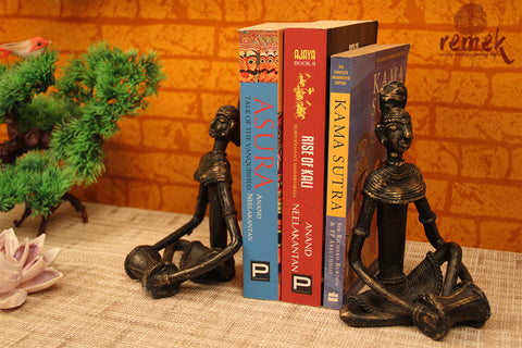 "Antique Dhokra Bookends - Folk Musician Playing ""Dholak"""