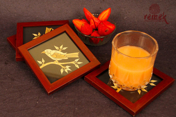 "Handmade ""Straw Craft"" Coasters - Gaze of Bird"
