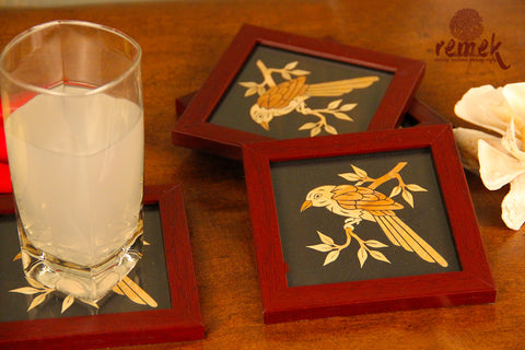 "Handmade ""Straw Craft"" Coasters - Intense Gaze of Sparrow"