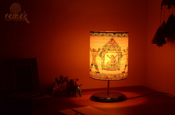 "Hand-painted ""Manjusha Art "" Table Lamp - Marraige Possesion of Bihula"