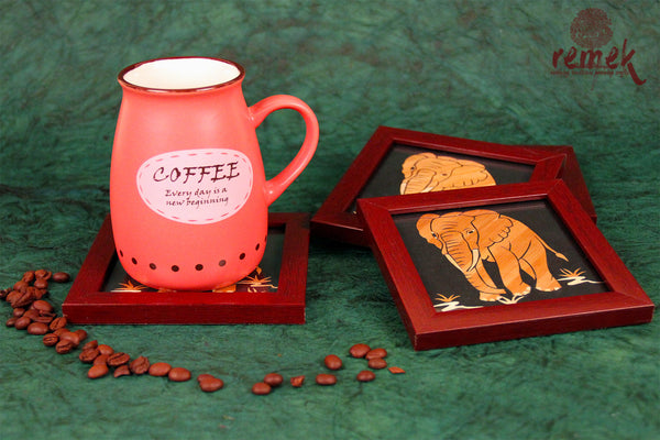 "Handmade ""Straw Craft"" Coasters - Elephant"