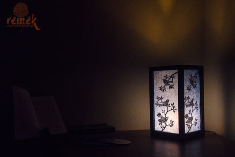 Handmade Table Lamp from Rice Strands - Nature
