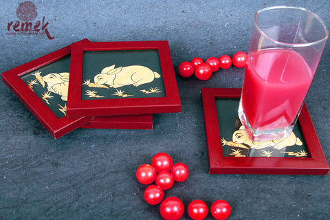 "Handmade ""Straw Craft"" Coasters - Rabbit"