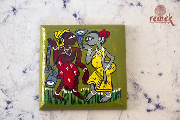 "Hand-painted ""Santhal Art"" Coasters from West Bengal"
