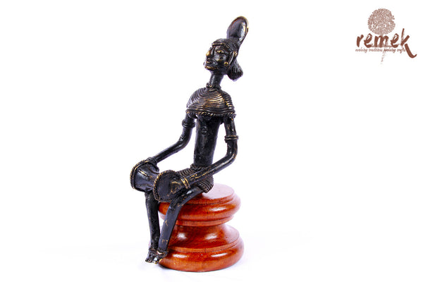 "Antique Dhokra Figurine - Folk Musician Playing ""Dholak"""