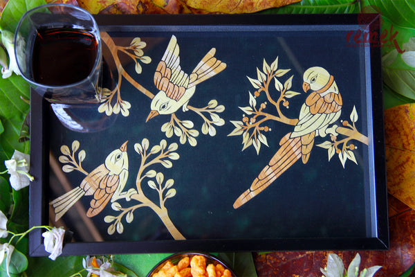 "Handmade ""Straw Craft"" Tray - Assorted Birds"