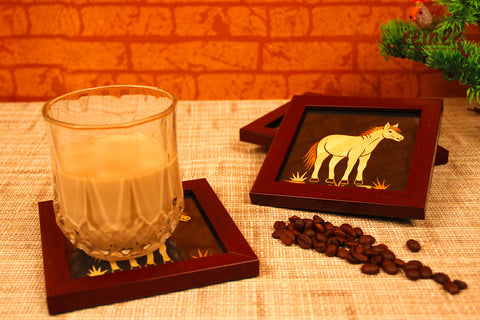 "Handmade ""Straw Craft"" Coasters - Horse"