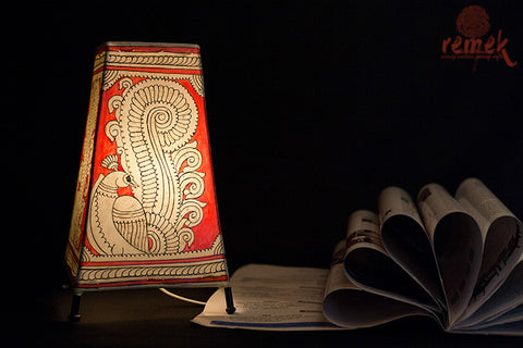 "Hand-painted ""Tholu Bommalata Art"" Table Lamp - Peacock"