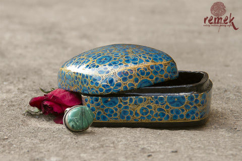 Small Hand-Painted Naquashi Box - Hazara Flower