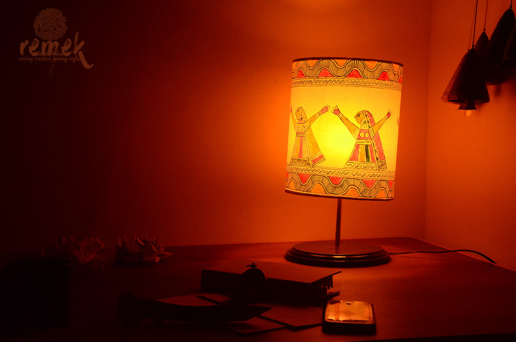 "Hand-painted ""Manjusha Art "" Table Lamp - Mansa Devi"