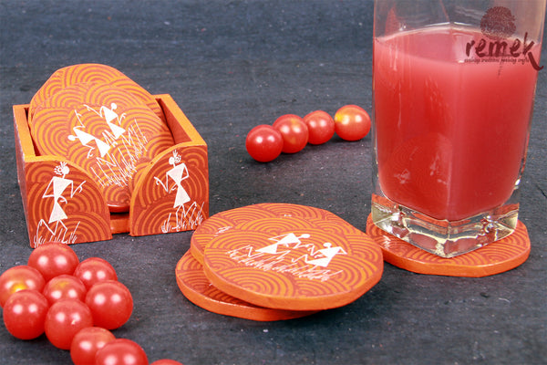 Hand-painted Warli Art Coasters - Tribal Celebrations