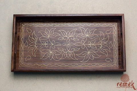 "Hand-carved ""Tarkashi Art"" Tray from Jaipur"